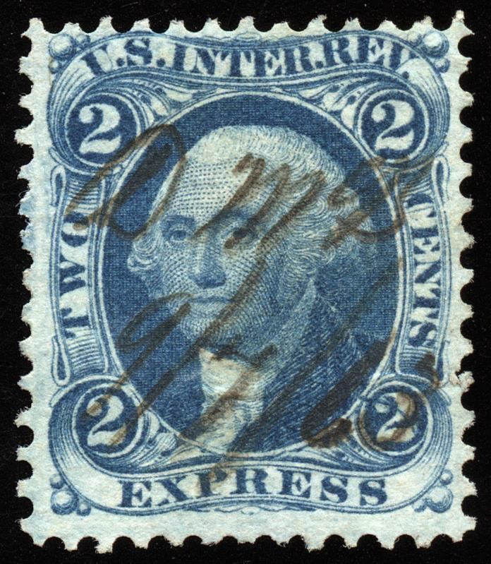 dt016 U.S. Revenue Scott R9c, 2-cent Express blue, cracked plate