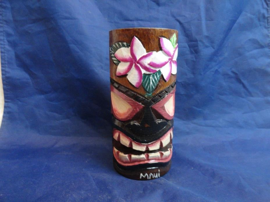 MAUI Hawaii Wood Wooden Tiki Mug Carved Engraved Hawaiian Hand Carved Flowers
