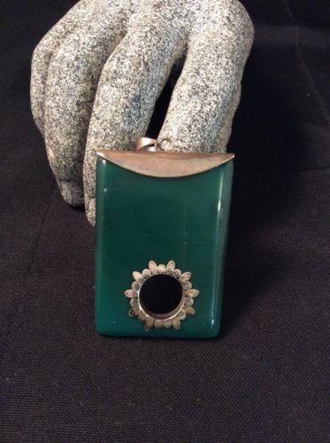 Beautiful Vintage Sterling Silver & Jade Large Pendant, 30.1 Grams,     BIN