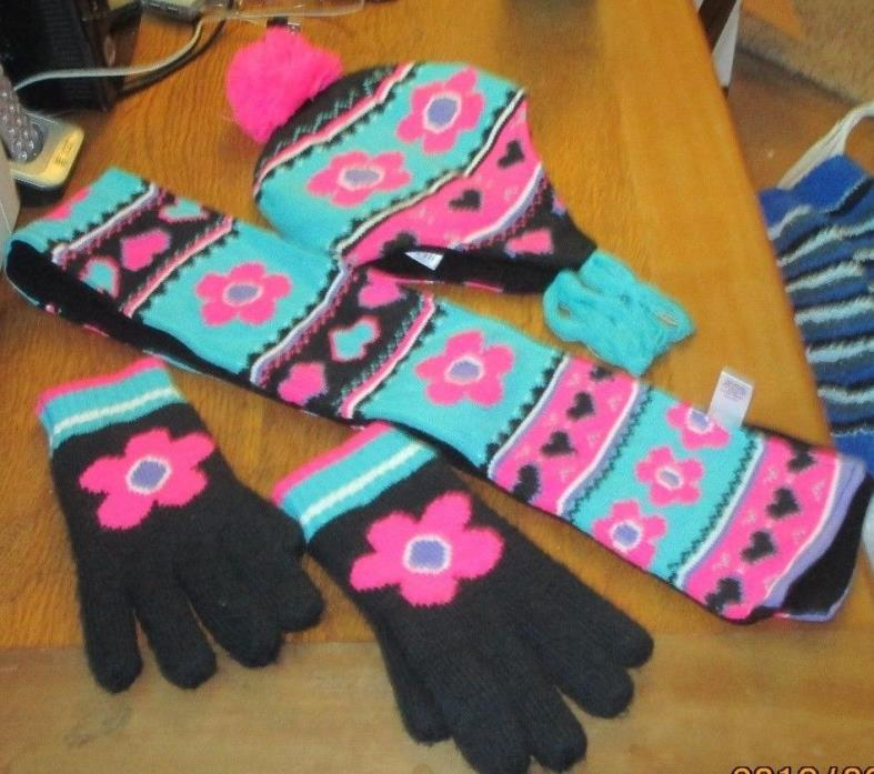 JUMPING BEANS~HAT GLOVES AND SCARF~USED A FEW TIMES~VERY NICE