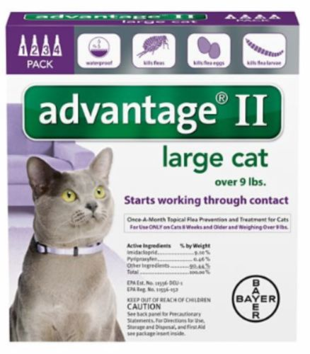 NEW Bayer Advantage II for Large Cats Over 9 lbs 4 Pack