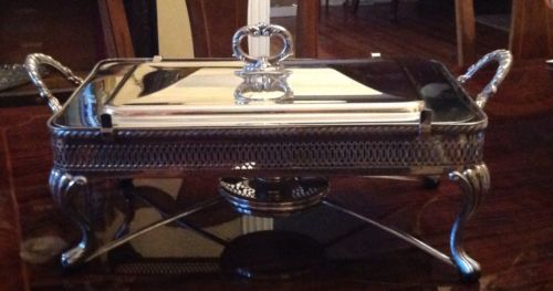Crescent Silver Plate Chafing Dish Vintage