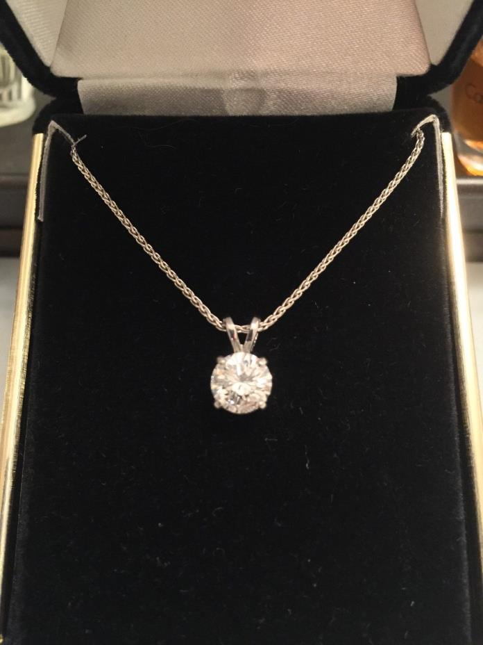 1.28 Carat Clarity Enhanced Diamond Pendant set in Platinum