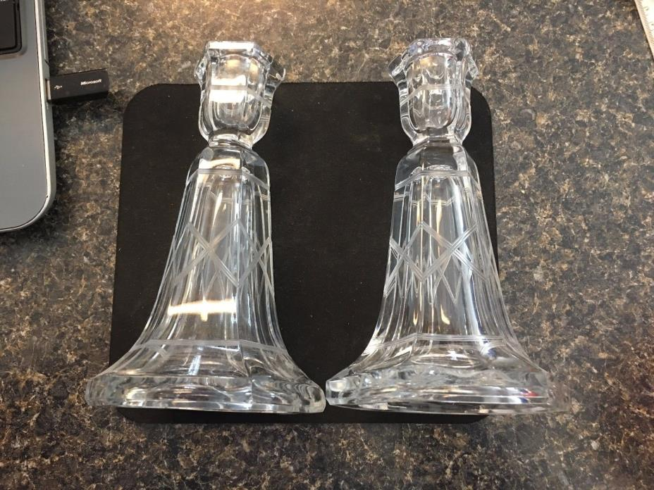 Vintage1930's GORGEOUS Art Deco glass Candle Stick Holders