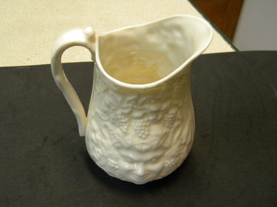 Belleek Porcelain Bacchus Mask Cream Pitcher GREEN MARK 1946 TO 1955 PRISTINE