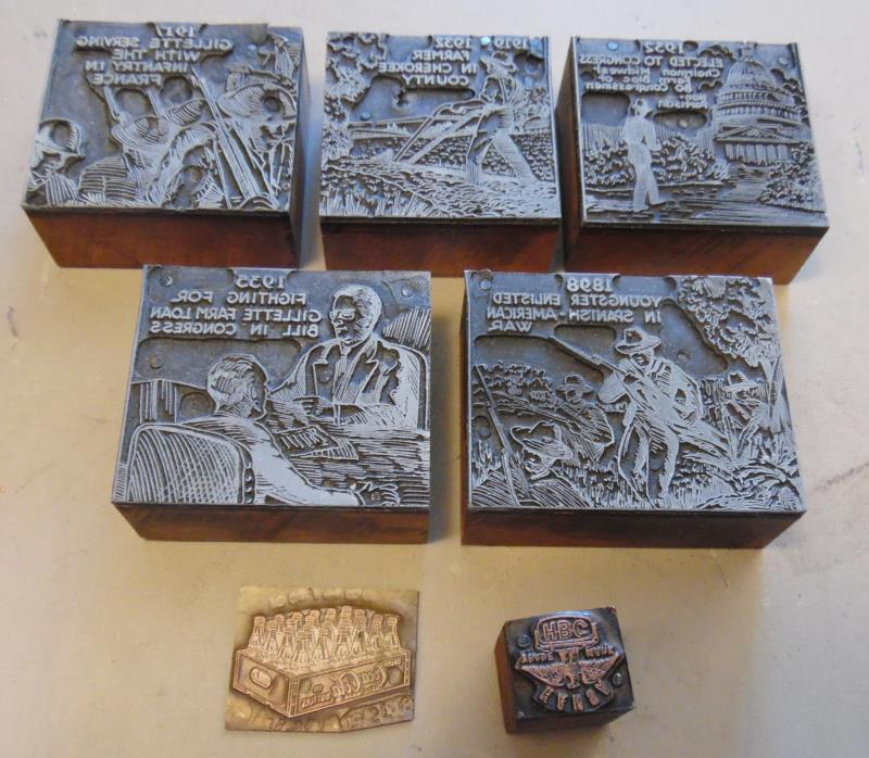 7 Antique Newspaper Wood Metal Print Blocks Printing War Politics Coke Gillette