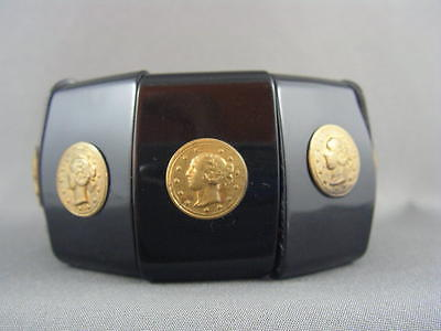 CLASSIC CHIC! 1980's Black Resin GOLD COIN Wide Expansion Bracelet ~COUTURE!~