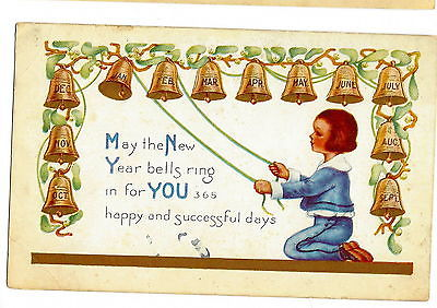 POSTCARD NEW YEAR - VINTAGE WHITNEY 1921 - EMBOSSED - 12 BELLS - 12 MONTHS