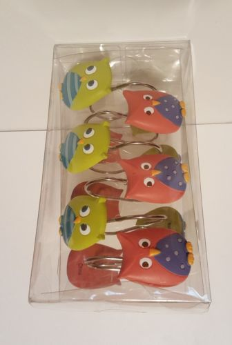MAINSTAYS KIDS 12 WHOOTY HOOT OWL?? SHOWER CURTAIN HOOKS ~ NEW