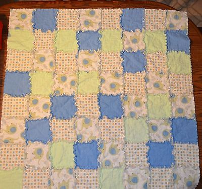 Baby Boy Rag Quilt Homemade Flannel With Elephants 38 x38