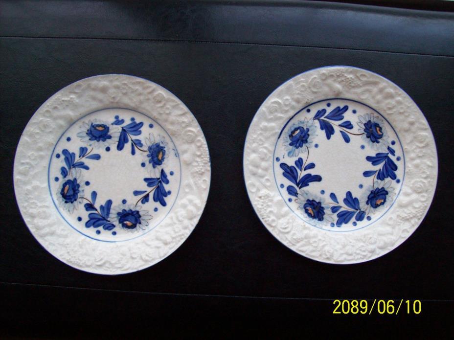 Collectible Vintage 2 Japan Soft Paste Flow Blue Plates , Home Decor, Crafts