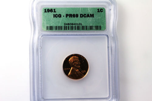 One ICG Graded PR69 Deep Cameo 1961-P Lincoln Small Cent Penny Coin (NUM3026)