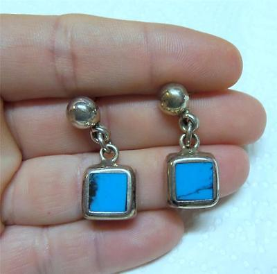 Fabulous Vtg Square Sterling Silver & Turquoise Dangle Earrings MEXICO Free Ship