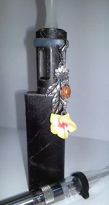 Vape Pen Mod Charm - Flower Bouquet Crystal - Yellow Orange - Silicone Ring