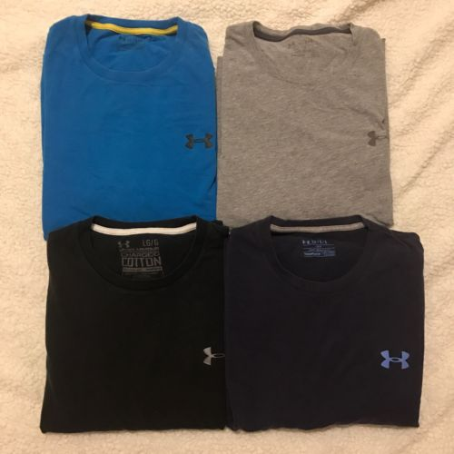 Men's size Large lot Under Loose Workout Shirts Blue Gray Black