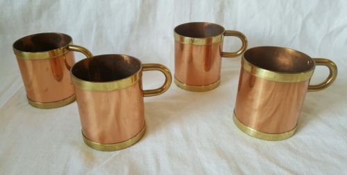 BEUCLER USA Copper & Brass Holders  Irish Coffee Russian  Set of 4