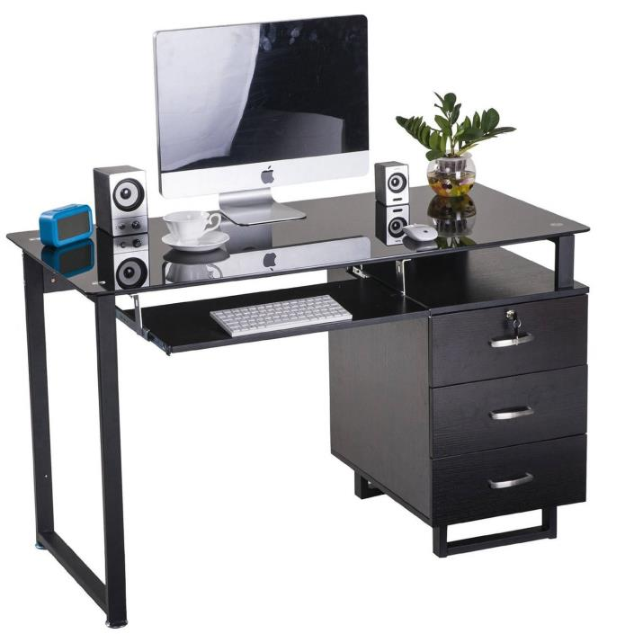 Large Glass Computer Desk Office Desk with Keyboard Tray and 3 Drawers, Espresso