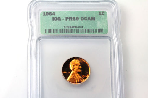 One ICG Graded PR69 Deep Cameo 1964-P Lincoln Small Cent Penny Coin (NUM3028)