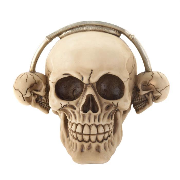 Rockin' Headphone Skull Figurine