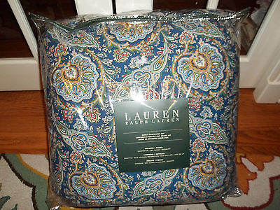 NIP Ralph Lauren Blue Red Beige Green Medallion Queen Comforter Set 4pc