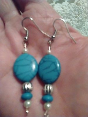 NWOT Turquoise & Faux Pearl Drop Dangle Earrings