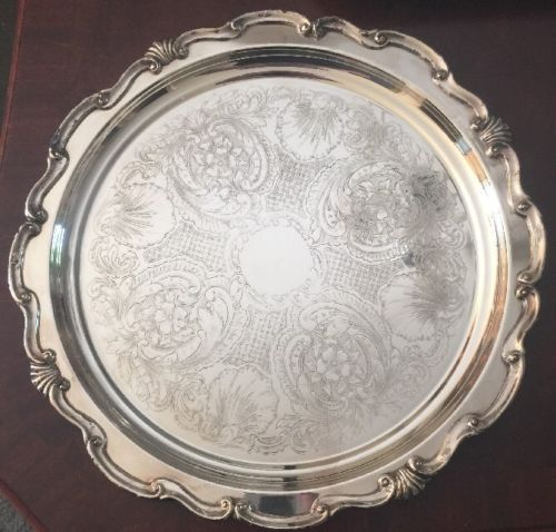 Vintage Round Silver Plated Serving Tray 'Cheshire' 12
