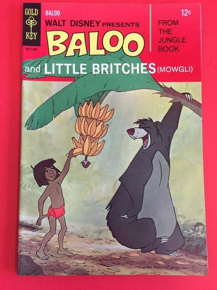 GOLD KEY COMICS - BALOO # 1  - JUNGLE BOOK DISNEY  MOVIE  1968  - HIGH GRADE