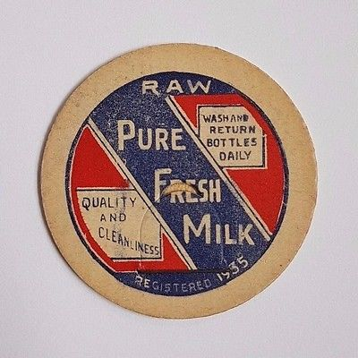 OLD RAW PURE FRESH MILK DAIRY MILK BOTTLE CARDBOARD LID ADVERTISING FARM CANADA