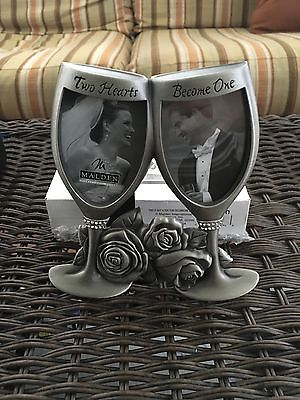 Wedding Picture Frame Two Hearts Become One Silver Metal Champagne Glass Roses