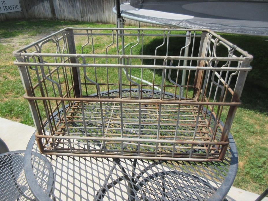 Vintage Heavy Duty Square Industrial All Metal Wire Milk Basket Crate Rusty