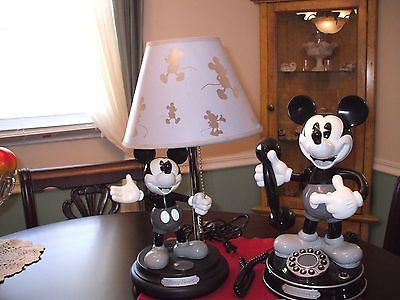 DISNEY  Mickey Mouse ANIMATED TALKING  Telephone & Lamp SET!  75th Anniversary