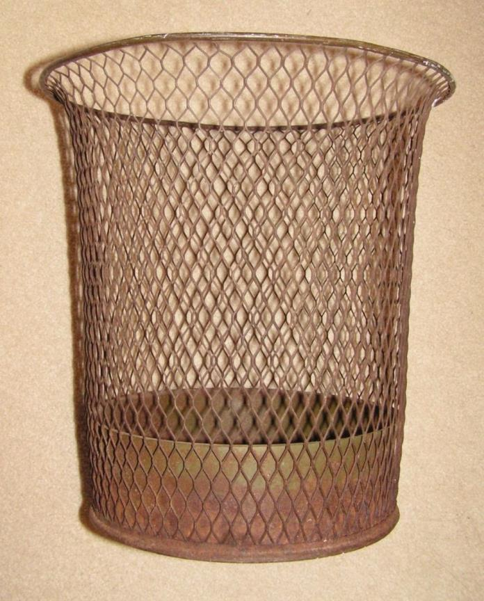 NEMCO Vintage Antique Industrial Wire Mesh Trash Can Waste Basket 1920's