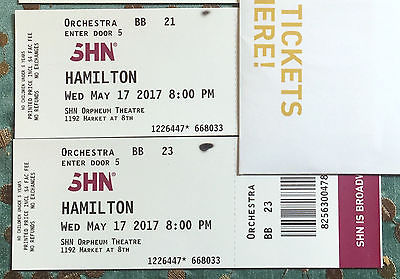 2 Hamilton Tickets, Wednesday 5/17 8pm San Francisco, ORCHESTRA Row BB ($400 ea)