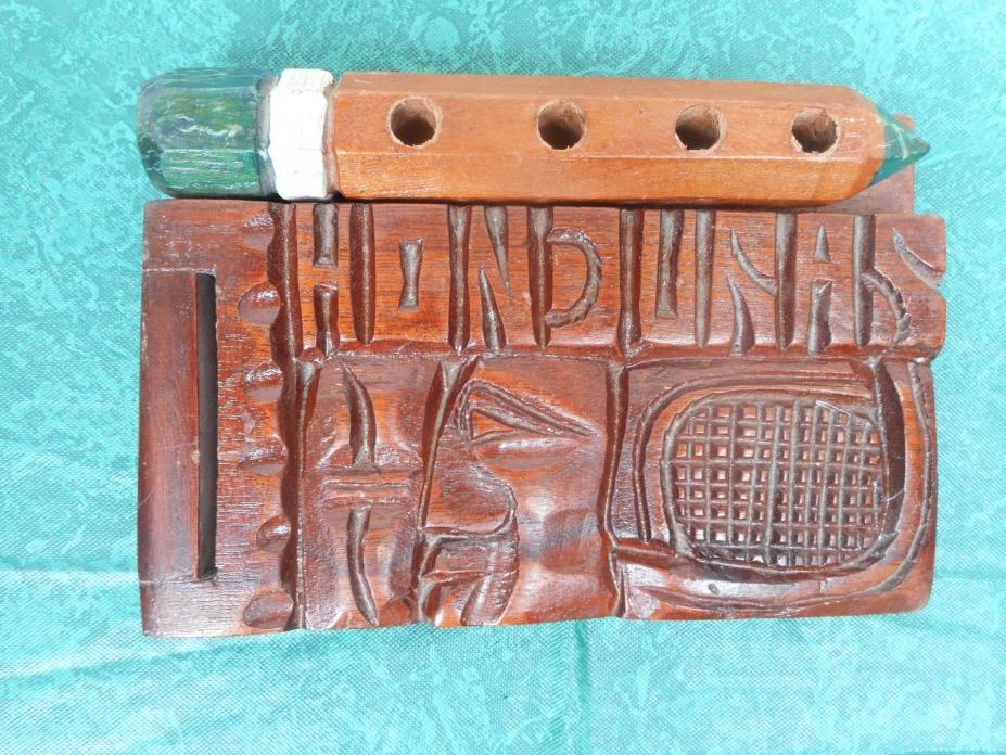 Deeply Hand Carved Wood Memo Case Holder Trinket Honduras Central America