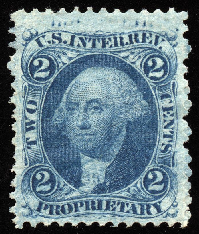 dt017 U.S. Revenue Scott R13c, scarce variety: re-entry marks in top margin