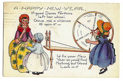 POSTCARD NEW YEAR - VINTAGE WHITNEY 1922 - EMBOSSED -DAME FORTUNE SPINNING WHEEL