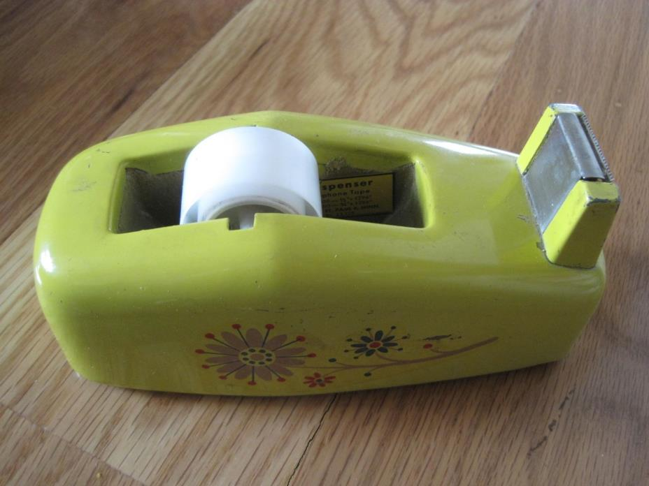Metal Scotch Tape Mini Dispenser w Yellow Flowers Vintage