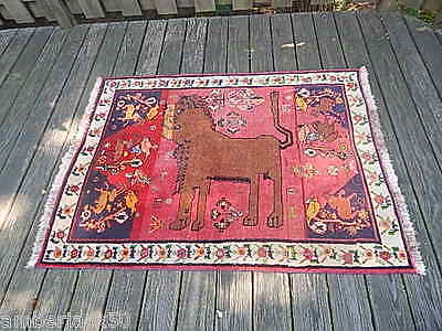 63 IN X 43 1/2 IN TIBETAN HANDMADE WOOL LION RUG VERY GOOD CONDITION USA SALE