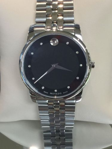 Movado Men's Swiss Museum Classic Diamond Accent Stainless Watch 13332659