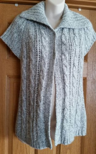 MOTHERHOOD Maternity Gray Short Sleeve Cardigan Sweater Medium
