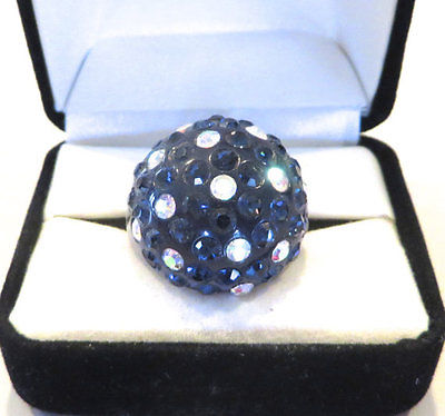 Montana Blue and Irridescent Crystal AB Lucite Dome Ring Size 7
