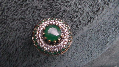Beautiful HUGE Vintage 925 Solid Sterling Silver Emerald and Topaz Ring