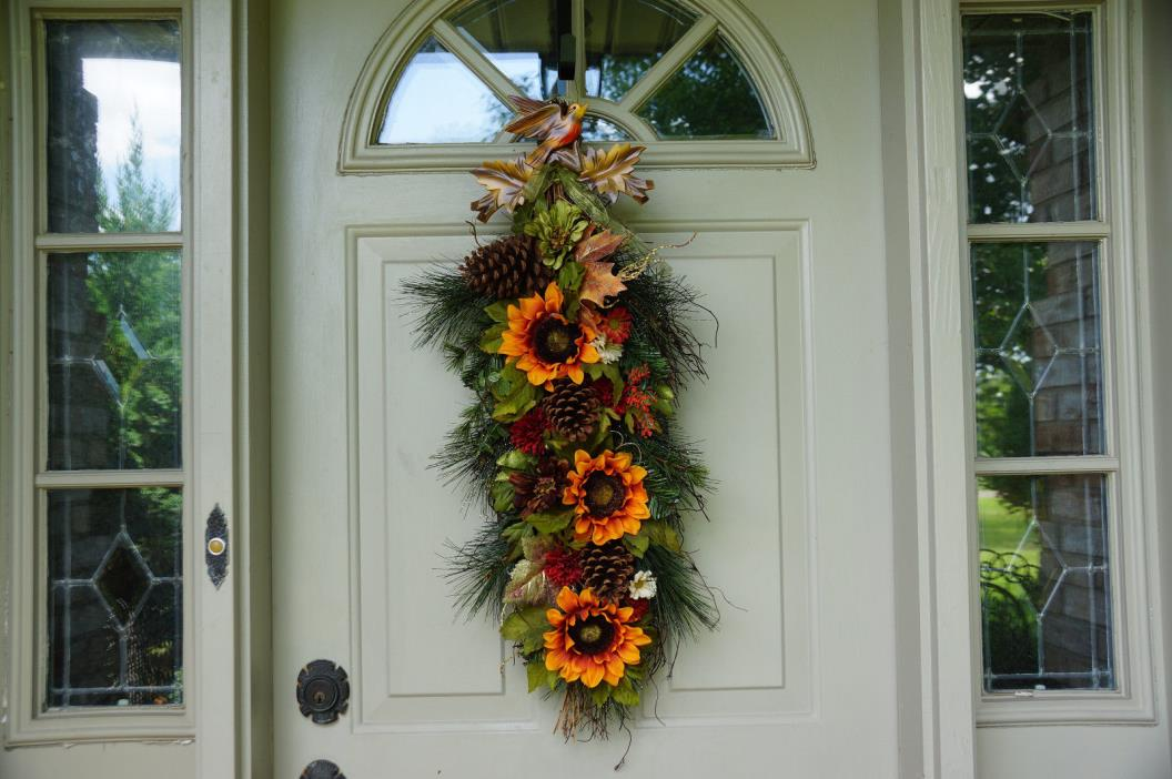 Autumn Fall Wedding Long Wreath Sunflowers Antique Carved Bird Door Hanging