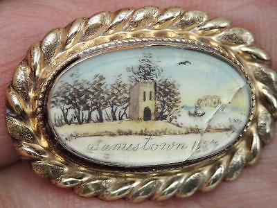 RARE 1857 JAMESTOWN Va. HANDPAINTED CHURCH TOWER SCENE GOLD PIN 250TH YEAR 1607