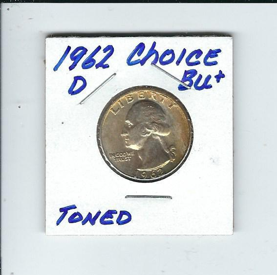 1962-D Washington Quarter (Toned) in Brilliant Uncirculated+ Cond.