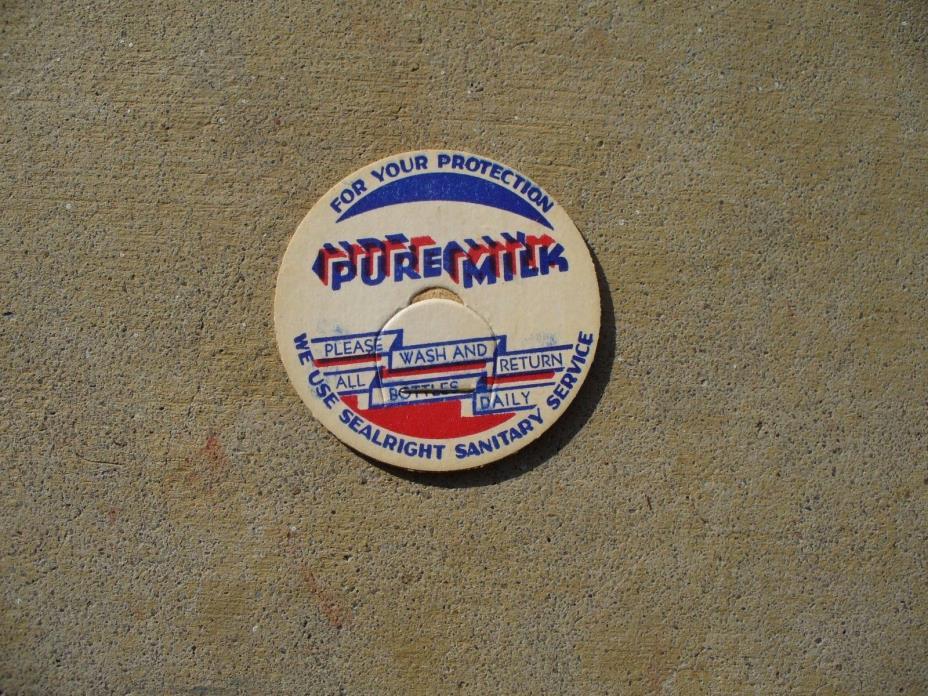 New Old Stock Generic Pure Milk Bottle Dairy Cap