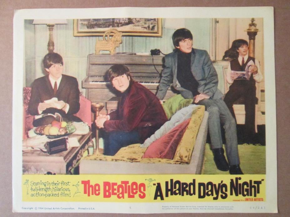 A Hard Day`s Night     - 1964 Original  Lobby Card  - The Beatles