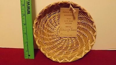 Papago Indian Handicraft weave small basket/tray/Kitt Peak Arizona