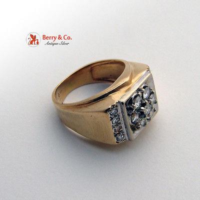 14K Yellow Gold Diamonds Gentlemen Men Ring