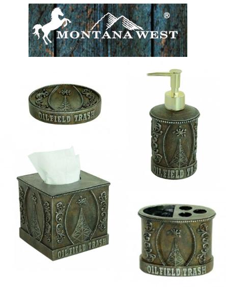OILFIELD 4 pc Bathroom Set~Toothbush holder~Soap dish~Dispenser~Tissue holder